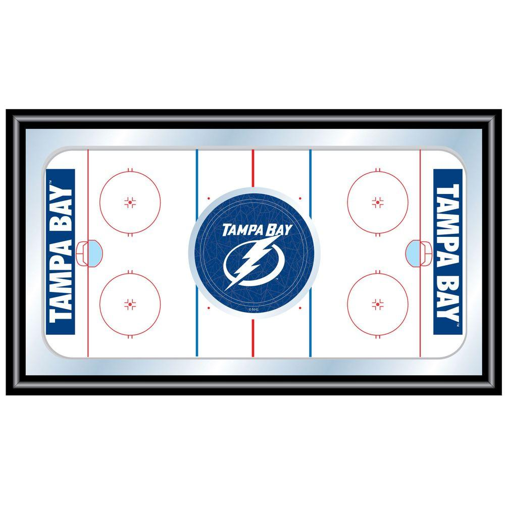 null NHL Tampa Bay Lightning 15 in. x 26 in. Black Wood Framed Mirror