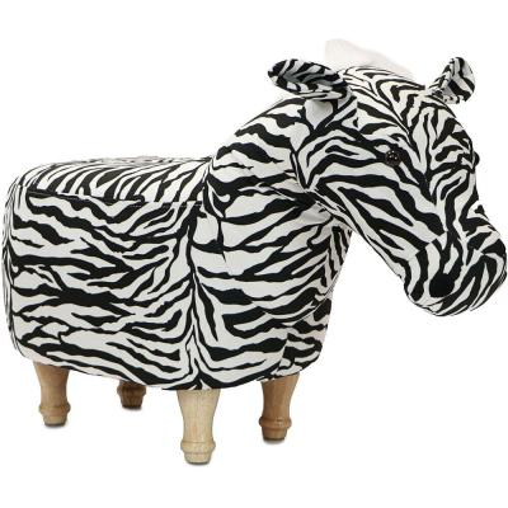 Black and White Zebra Animal Shape Ottoman