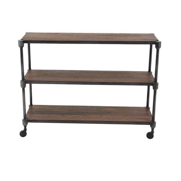 48 in. x 36 in. in. Industrial Style Rectangular Metal and Teak Wood Rack with Wheels and Two Shelves