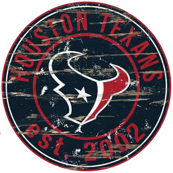 Adventure Furniture 24 NFL Houston Texans Round Distressed Sign  for sale