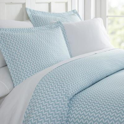 Puffed Chevron Patterned Performance Light Blue Twin 3-Piece Duvet Cover Set