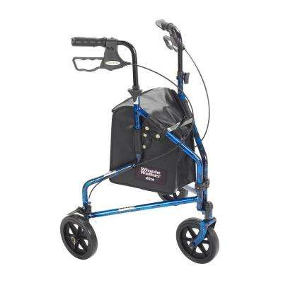 3-Wheel Rollator Walker with Basket Tray and Pouch in Flame Blue