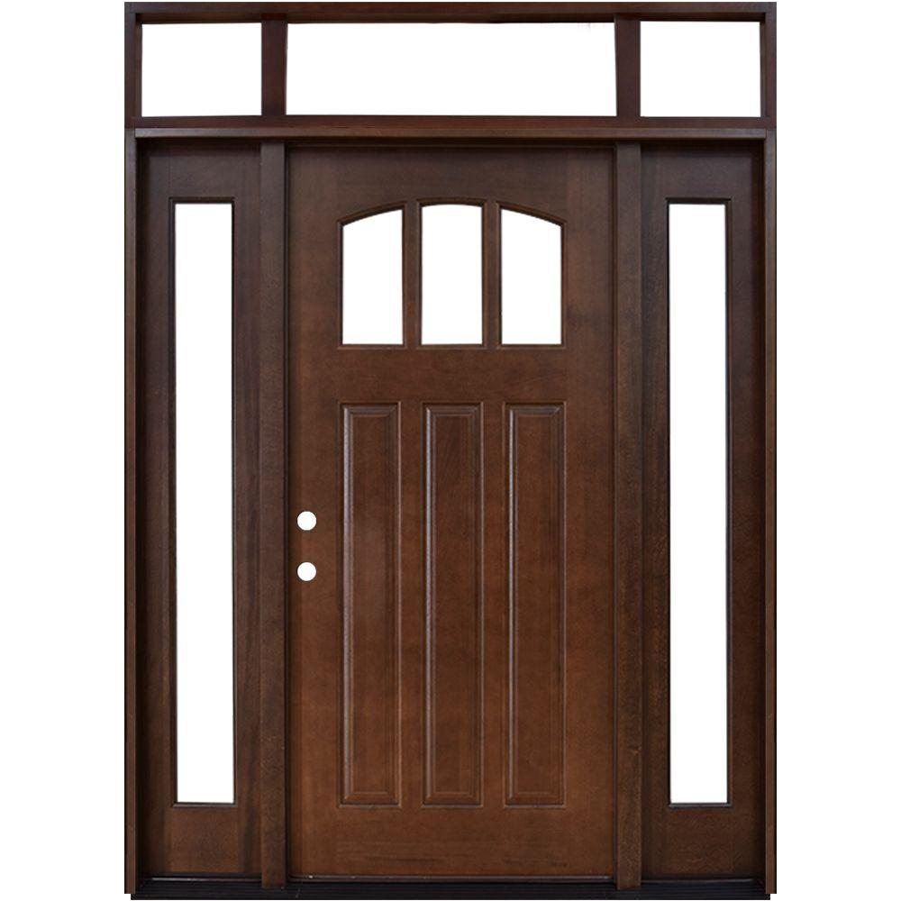 Steves & Sons 64 in. x 80 in. Craftsman 3 Lite Arch Stained Mahogany Wood Prehung Front Door with Sidelites and Transom