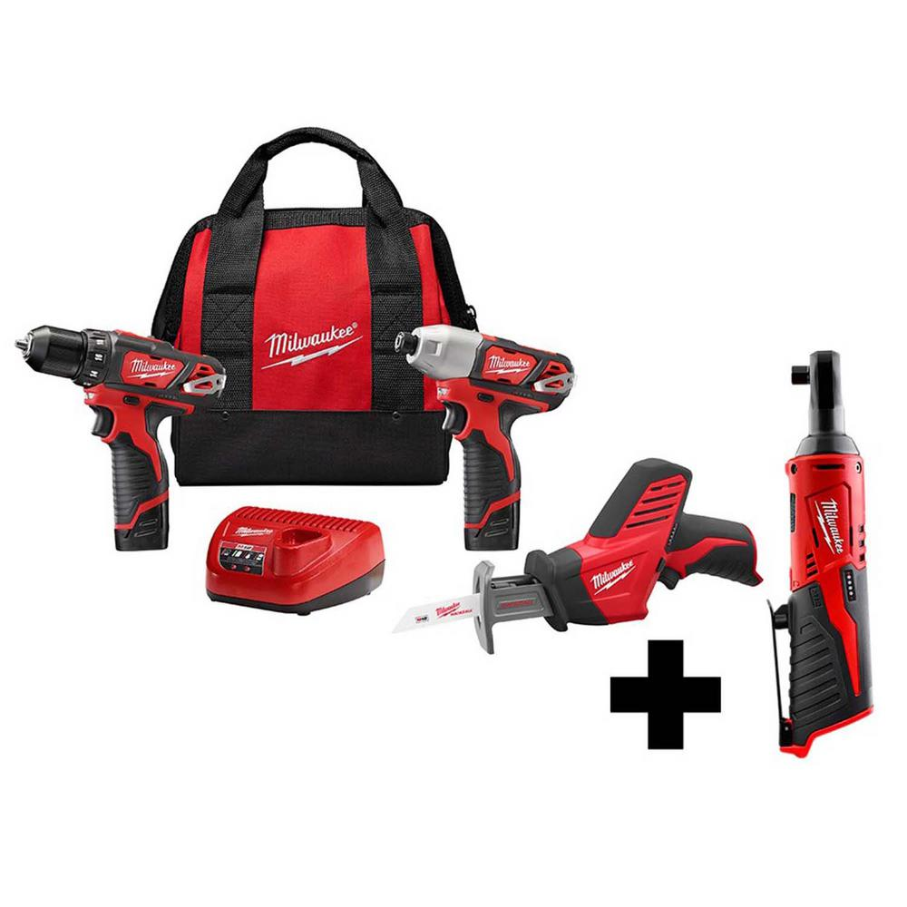 Milwaukee M12 12-Volt Lithium-Ion Cordless Combo Kit (3-Tool) with M12 3/8 in. Ratchet