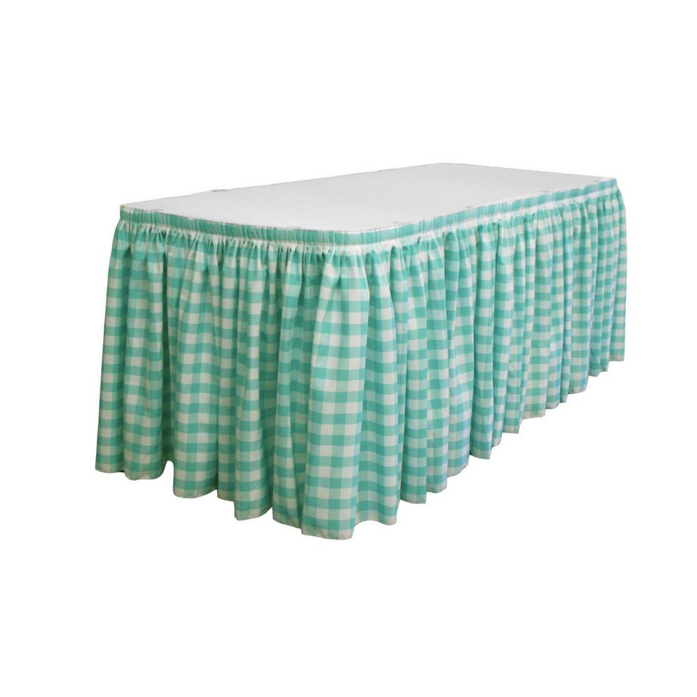 17 Ft. X 29 In. Long White And Mint Polyester Gingham