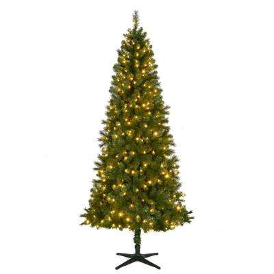 7.5 ft. Pre-Lit LED Wesley Spruce Slim Artificial Christmas Tree with Color Changing Lights