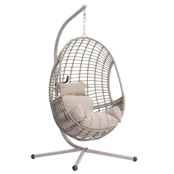 Casainc Patio Rattan Egg Swing Chair With Beige Cushion And Stand Hanging Chair For Outdoor Garden Lounging Chair Wf W41922257 The Home Depot