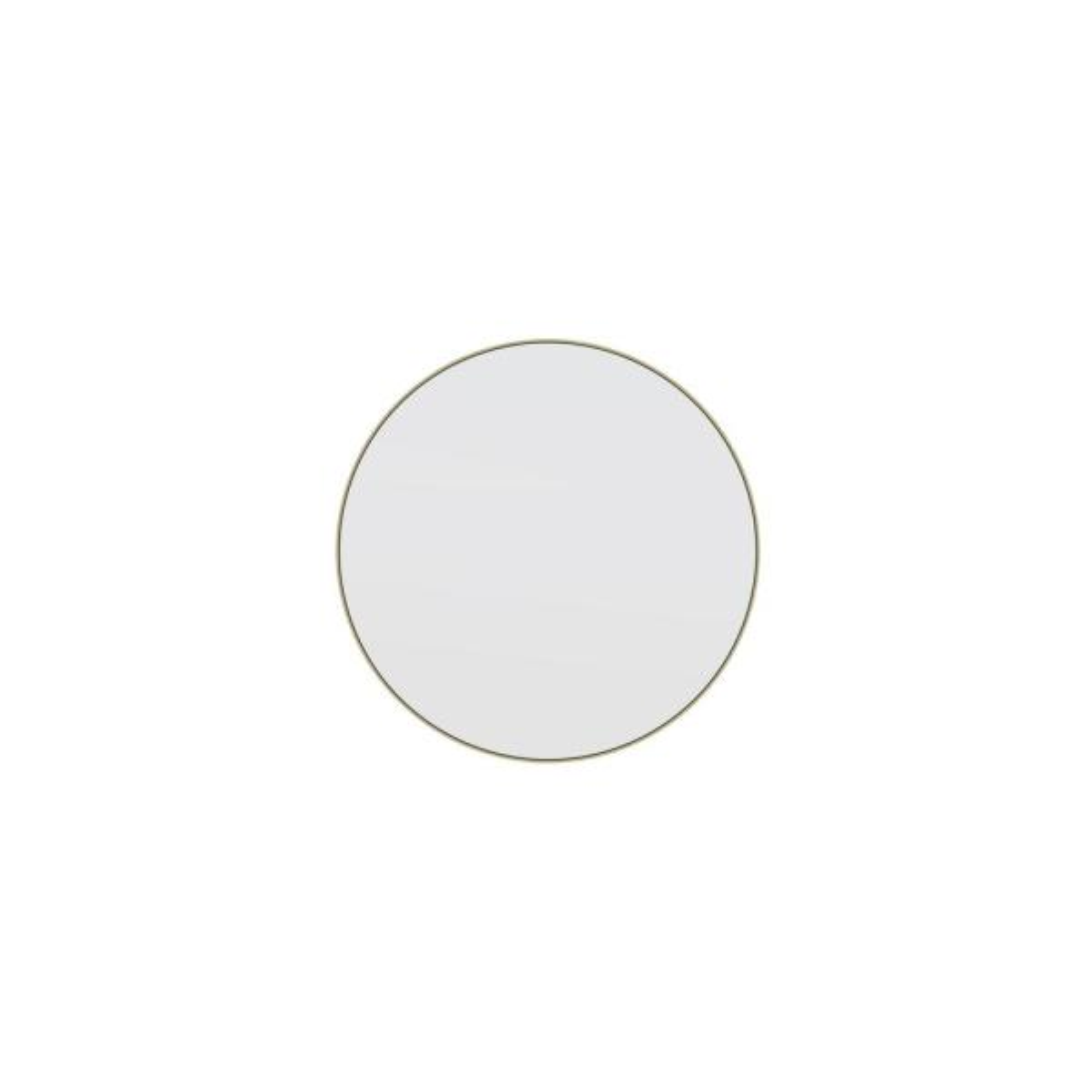 20 in. W x 20 in. H Framed Round Bathroom Vanity Mirror in Satin Brass
