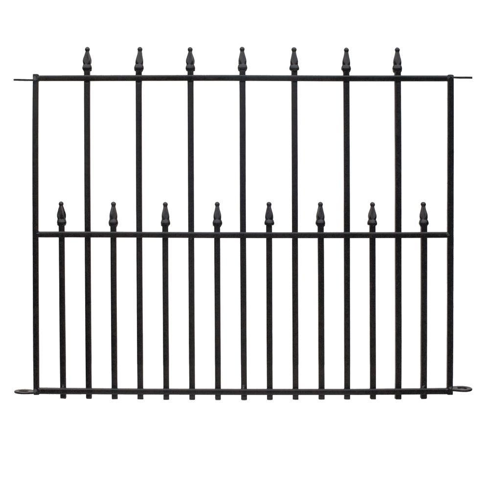Vigoro Empire 30 in. x 36 in. Black Steel 3-Rail Fence Panel