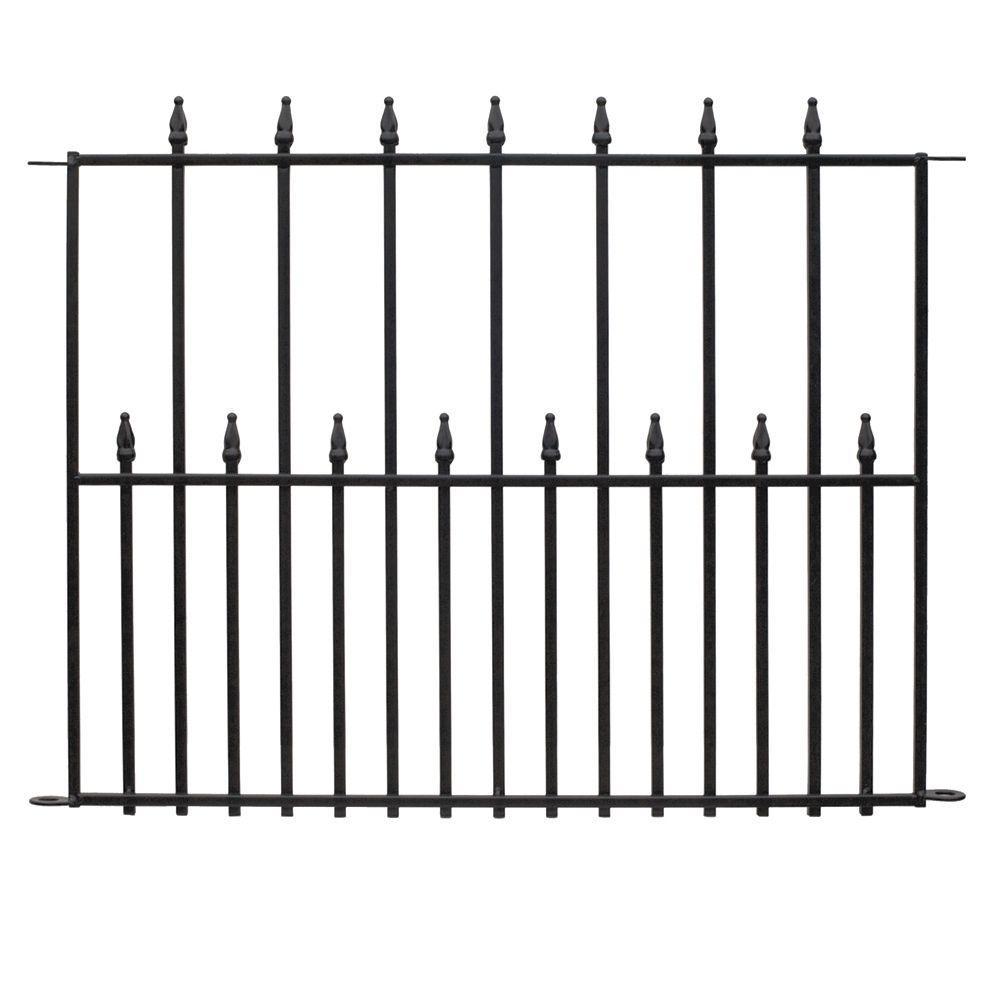 Empire 30 in. x 36 in. Black Steel 3-Rail Fence Panel