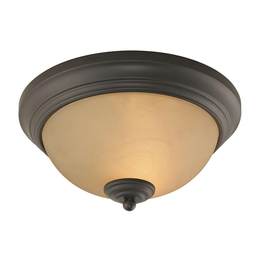 Titan Lighting Huntington 2-Light Oil-Rubbed Bronze Ceiling Flushmount