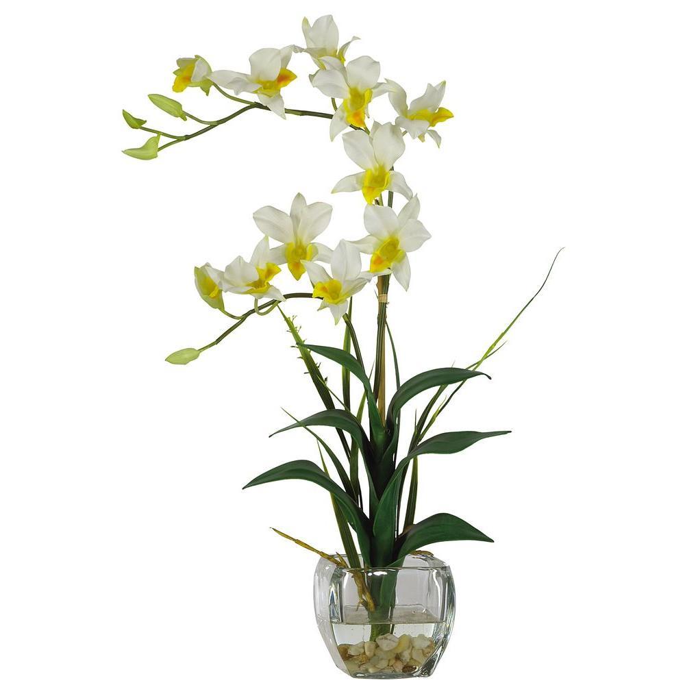 22 in. Beige Dendrobium Silk Orchid Flower Arrangement