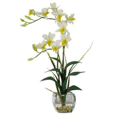 22 in. Beige Dendrobium Silk Orchid Flower Arrangement