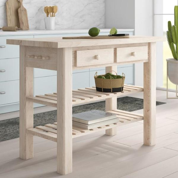 International Concepts Nantucket Unfinished Wood Kitchen Island With Butcher Block Top Wc 4824 The Home Depot