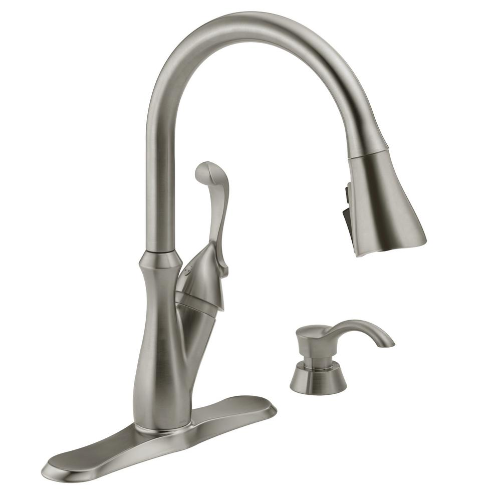 Delta Arabella Single Handle Pull Down Sprayer Kitchen Faucet With Shieldspray Technology In Stainless 19950z Sssd Dst The Home Depot
