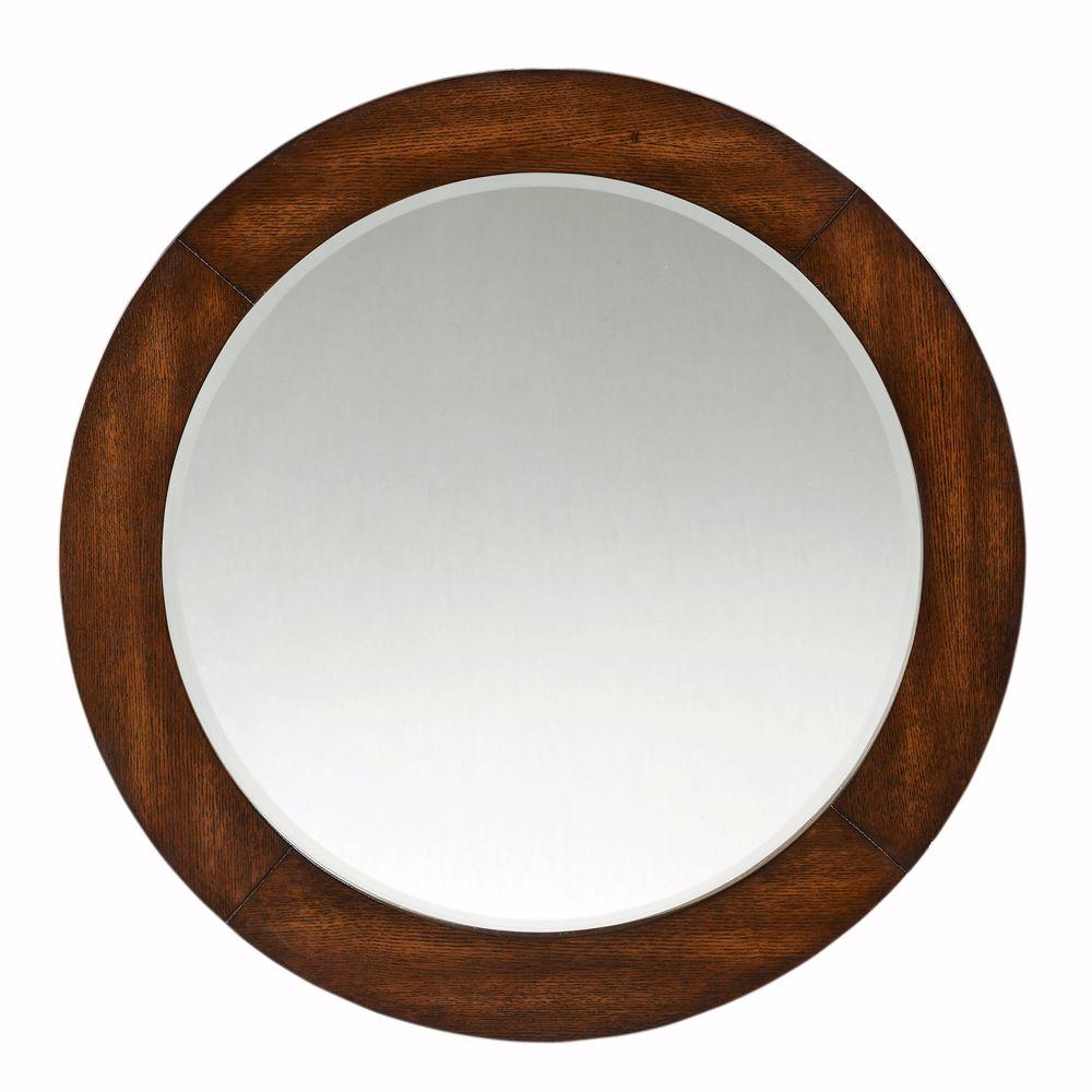 Round Mirror With Dark Brown Frame Discontinued