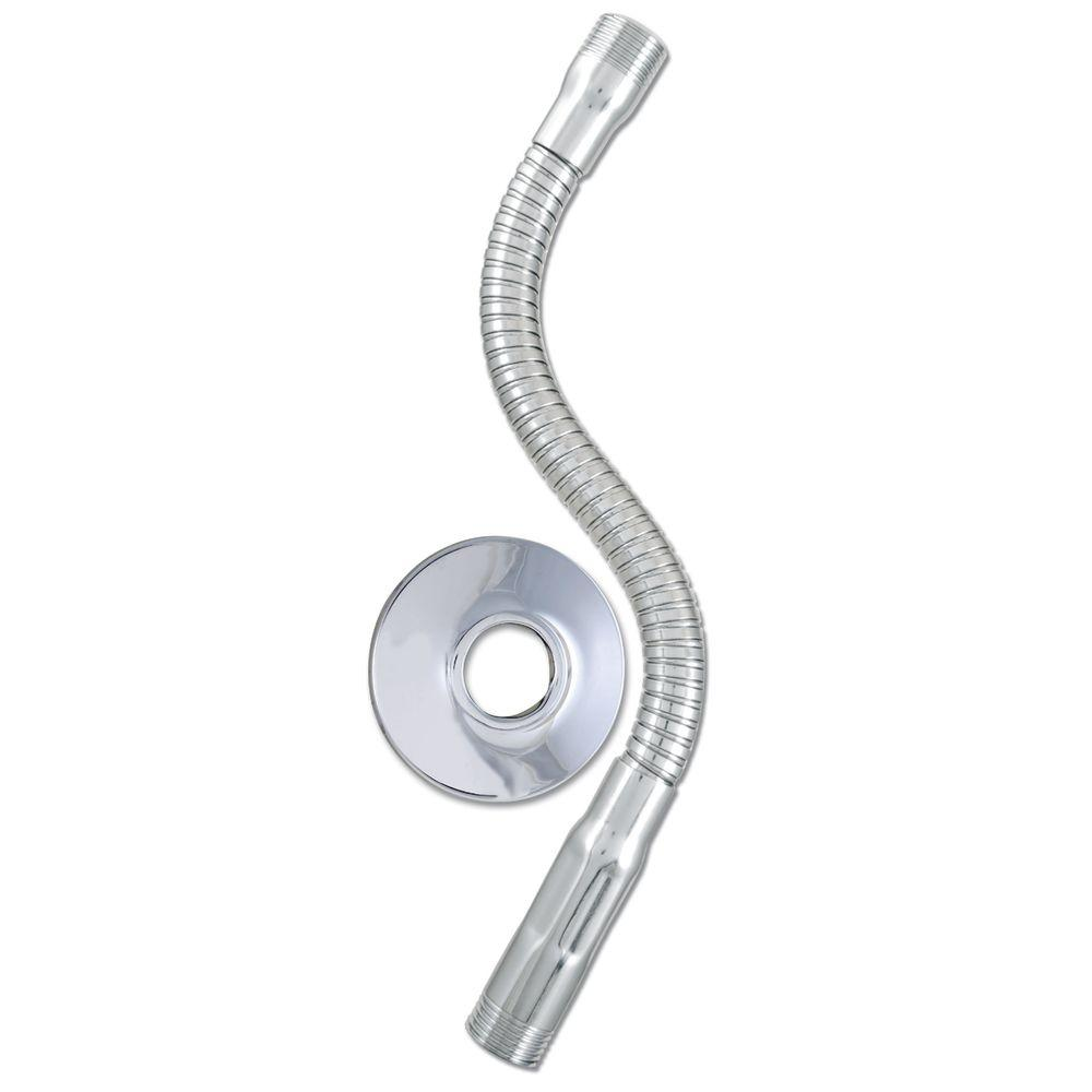 Flexible Shower Arm with Flange in Chrome