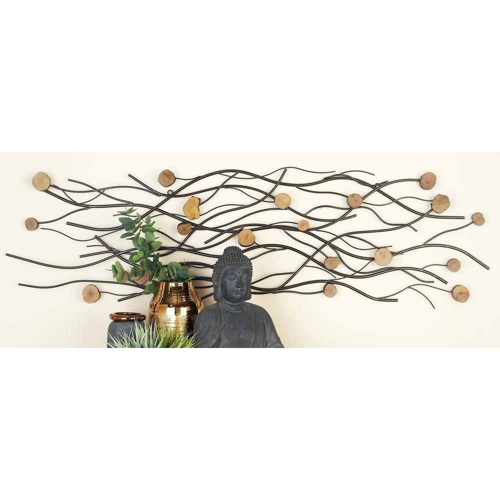 Modern Silver and Light Brown Metal Abstract Wall Decor