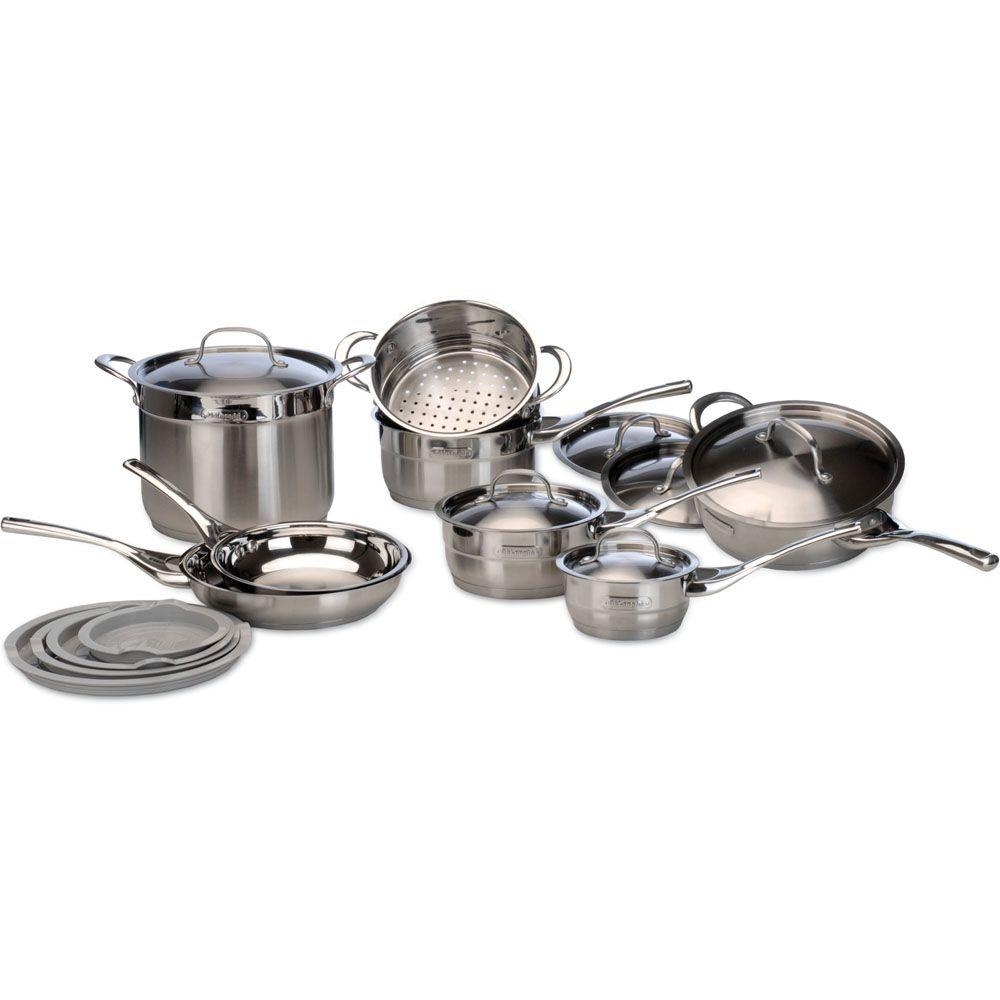 DeLonghi 14 pc. Stainless Steel Cookware Set Genoa Pattern-DISCONTINUED