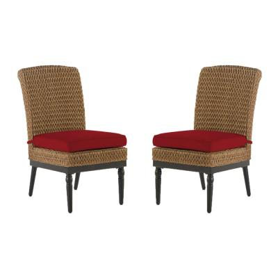 Camden Light Brown Seagrass Wicker Outdoor Patio Armless Dining Chair with CushionGuard Chili Red Cushions (2-Pack)