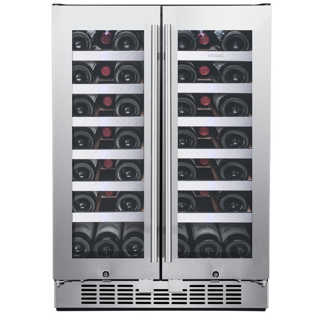 TITAN 42-Bottle French Door Seamless Stainless Steel Dual Zone Built In Wine Cooler