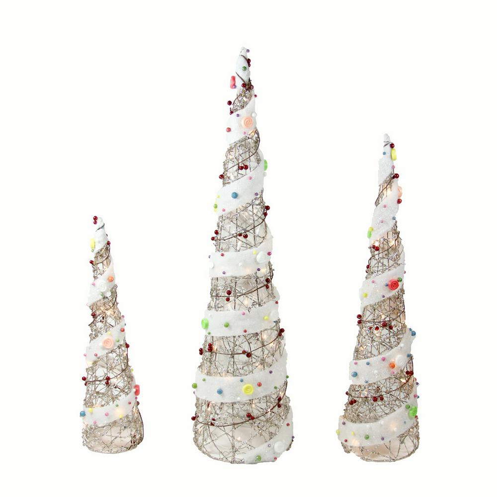 Christmas Outdoor Decorations Lighted Champagne Gold Rattan Candy Covered Cone Tree