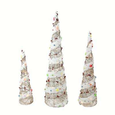 39.25 in. Christmas Outdoor Decorations Lighted Champagne Gold Rattan Candy Covered Cone Tree (3-Pack)