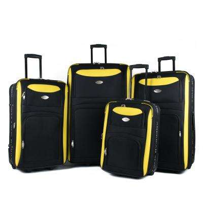 Duo Black/Yellow 4-Piece Expandable In-Line Luggage Set
