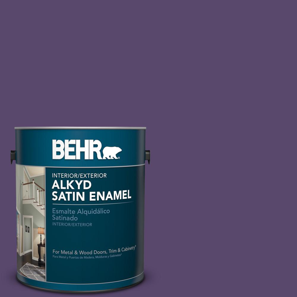 1 gal. #P570-7 Proper Purple Satin Enamel Alkyd Interior/Exterior Paint