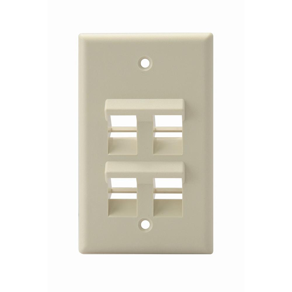 1-Gang QuickPort Standard Size 4-Port Angled Wallplate, Ivory