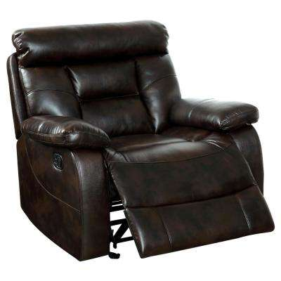 Larsa Brown Leatherette Recliner Chair