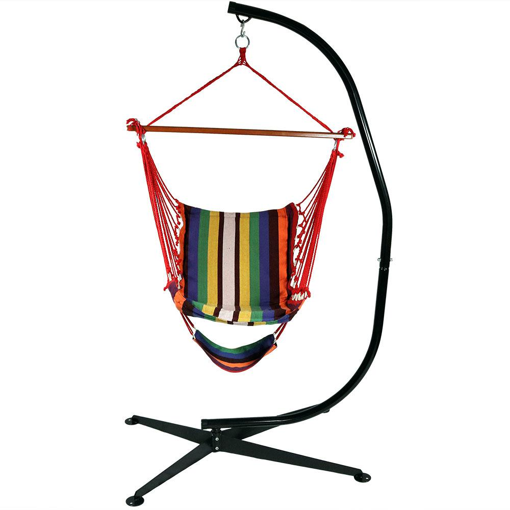 3.5 ft. Fabric Hanging Soft Cushioned Hammock Chair and Footrest with
