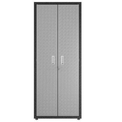Fortress 74.8 in. H x 30.3 in. W x 18.2 in. D Textured Metal Freestanding Cabinet with 4 Adjustable Shelves in Gray