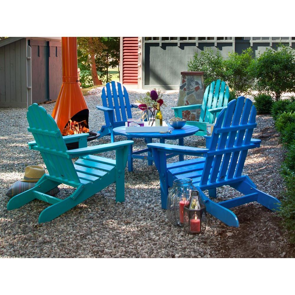 POLYWOOD Classic Blue/Aruba 5 Piece Folding Adirondack Patio Conversation  Group Set
