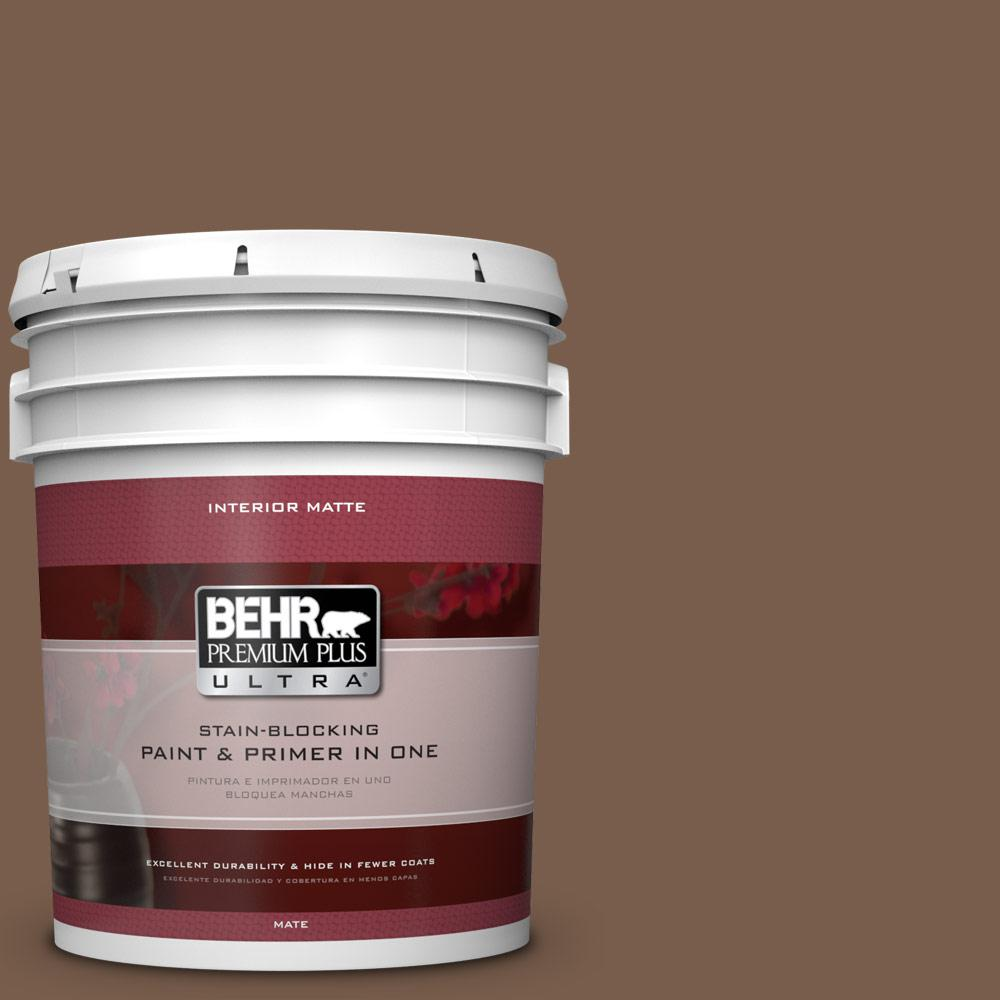 5 gal. #250F-7 Melted Chocolate Matte Interior Paint and Primer in