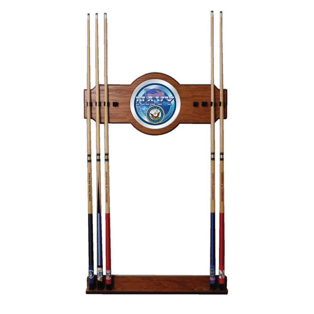 U.S. Navy 30 in. Wooden Billiard Cue Rack with Mirror