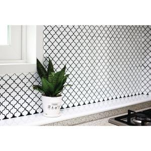 Tic Tac Tiles Damask 10 In W X 10 In H White Peel And