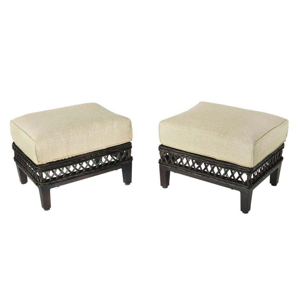 Hampton Bay Woodbury Patio Ottoman With Textured Sand Cushion (2 Pack)