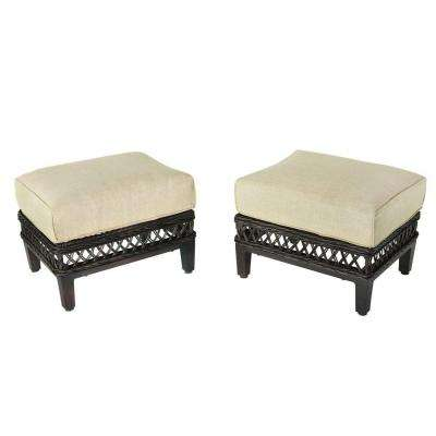 Beautiful Woodbury Patio Ottoman With Textured Sand Cushion (2 Pack)