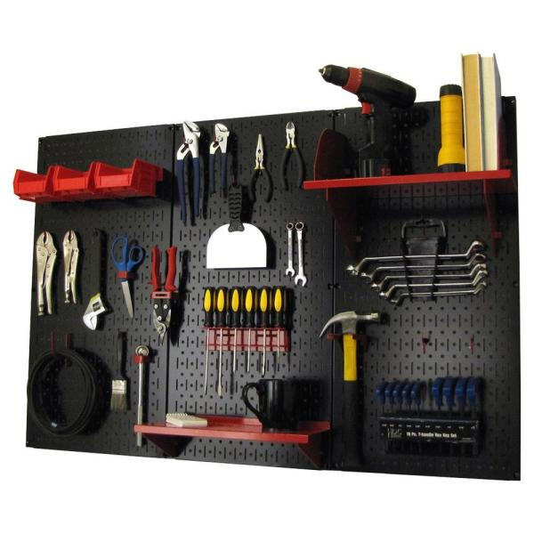 Wall Control 32 In X 48 In Metal Pegboard Standard Tool Storage Kit With Black Pegboard And Red Peg Accessories 30wrk400br The Home Depot