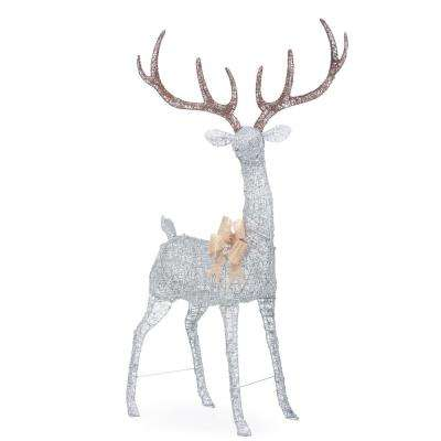 Holiday Glow 103 in. Christmas 320-Light Silver PVC Deer