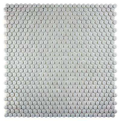 Constantine Galahad Glycerin 12.8125 in. x 12.375 in. x 6.35 mm Gray Glass Mesh-Mounted Mosaic Tile (11.01 sq.ft./Case)
