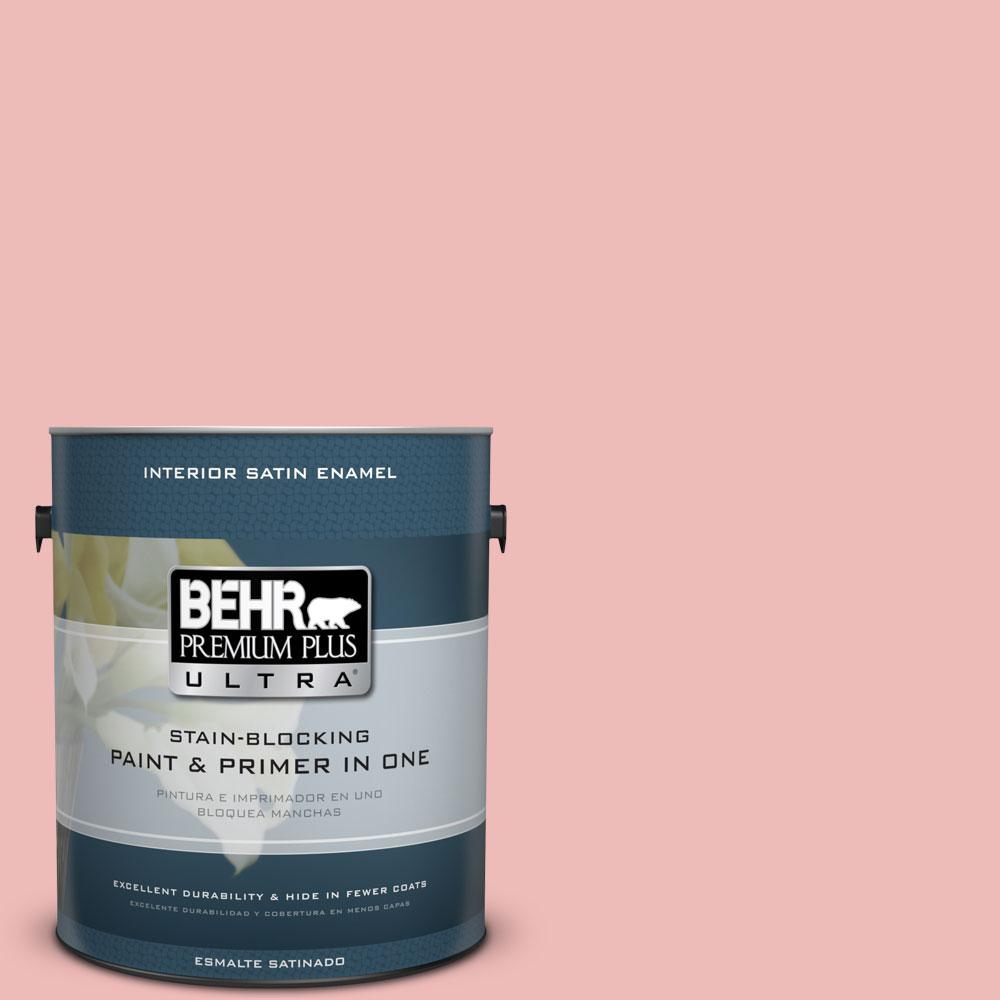 BEHR Premium Plus Ultra 1-gal. #BIC-04 Pink Taffy Satin Enamel Interior Paint