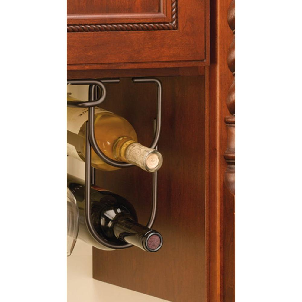 0.625 in. H x 4.25 in. W x 9 in. D Oil Rubbed Bronze Under Cabinet Double Wine Bottle Rack