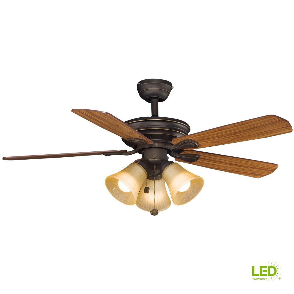 Montgomery 42 In  Led Indoor Oil Rubbed Bronze Ceiling Fan With Light Kit-rdb91-orb
