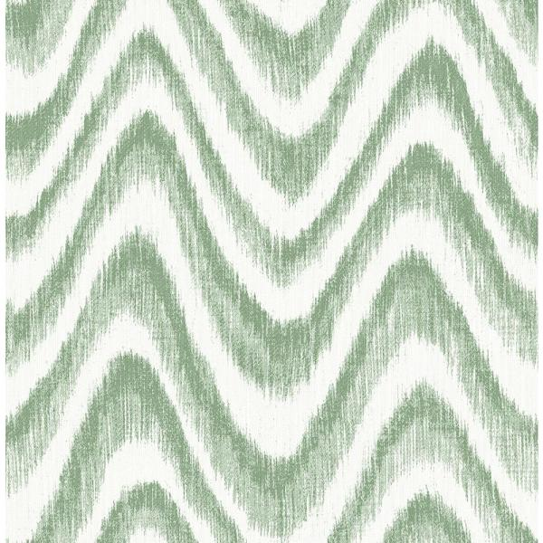 A-Street 8 in. x 10 in. Bargello Green Faux Grasscloth Wave