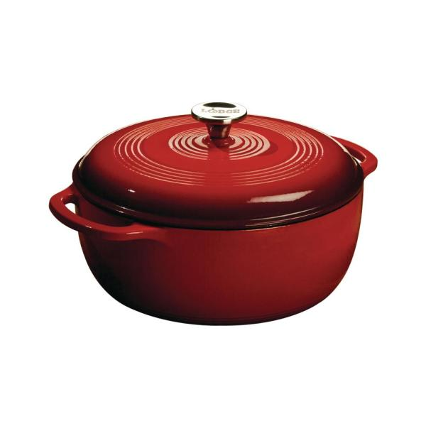 Lodge 6 Qt. Round Enamel Cast Iron Dutch Oven in Red
