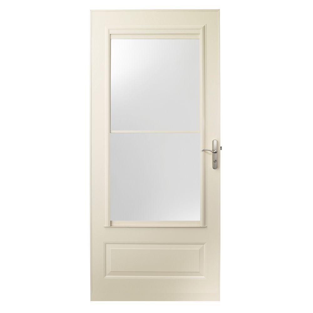 36 in. x 80 in. 400 Series Almond Universal Self-Storing Aluminum Storm Door with Nickel Hardware