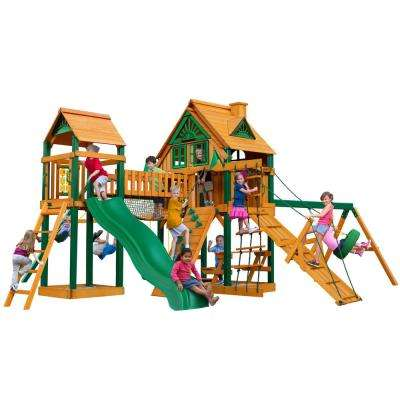 Pioneer Peak Treehouse Wooden Swing Set with Fort Add-On, Timber Shield Posts, and Clatter Bridge and Tower