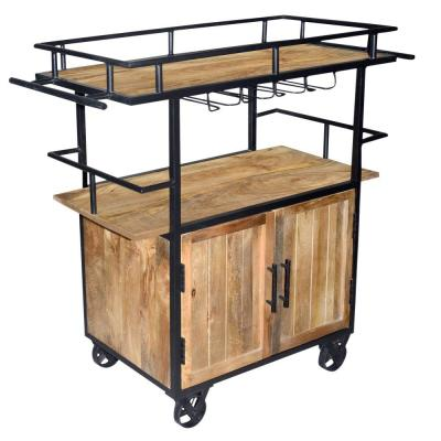 Wood and Metal Brown/Black Bar Cart with Double Door Storage and Casters